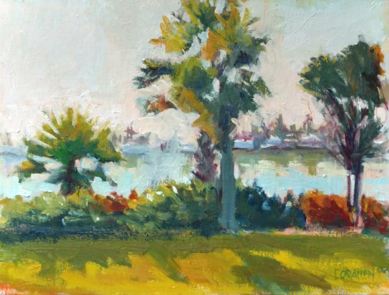Palm Trees on the Lagoon plein air