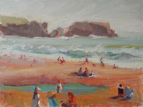 Winters Day at Rodeo Beach plein air painting